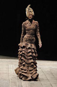 * Alexander McQueen (British, 1969–2010. Dress. Widows of Culloden, autumn/winter 2006–7. Pheasant feathers. Photo Sølve Sundsbø