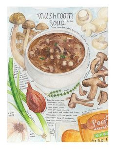Mushroom soup print of watercolor painting kitchen art by Heegyum