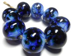 Lampwork.Glass bead handmade.Beads blue. by Glasskaramelka on Etsy, $25.00