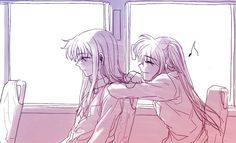 Nanoha bugging Fate on the bus