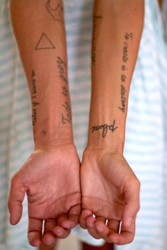 """""""I got my first tattoo two years ago. In the beginning, I loved triangles. It's geometric; it's kind of like the trinity-- I'm not religious, but there's something about the equilibrium of things."""" Margaux Lonnberg for StyleLikeU"""