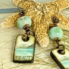 Beauty inspirational ART Wood Tiles Dangle Earrings by enlalumiere, $34.00