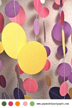 These fuchsia (hot pink), magenta (bright purple) and yellow paper circle garlands are so springlike and perfect for the Easter holiday season. Use them to decorate your home, office, or dorm to add some fesitivity and cheer. Room Decorations, Holiday Decorations, Bright Purple, Magenta, Circle Garland, Easter Garland, Yellow Paper, Different Seasons, Easter Holidays
