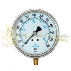 """Part #NV132A5N321KG Series 6211 Liquid Filled Pressure Gauge, 1/4"""" NPT Bottom Connection, 4"""" Gauge Size, 0-600 PSI"""