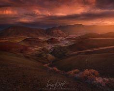 Dark Was the Day - The Painted Hills unit of the John Day Fossils Beds is really one of the more surreal places you can lay your eyes on in Oregon. The striations of different colored clays (which you can see better if you view this on black) create an almost alien landscape that is a dream for us landscape shooters.   This is a photo from higher up above the standard viewpoint, but caution must be taken not to step off trail as to avoid making tracks in the delicate and unspoiled land…