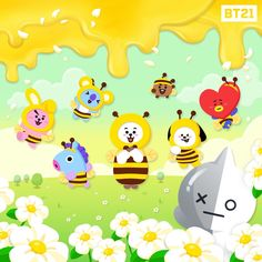🐝Will you Bee our Honey?🍯 is here with a pot full of sweet surprises~ . Enter the Gift Code under Setting> COUPON to win a new… Billboard Music Awards, Bts Cute, Pikachu, Pokemon, Bt 21, Les Bts, Line Friends, Bts Drawings, Bts Chibi