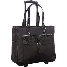 Stroll in style with this heritage nylon twill with croco faux leather trim single compartment women's top zip in. Laptop business tote / carryon bag from heritage travel ware. This wheeled business tote boasts a large main compartment w Chanel Handbags, Purses And Handbags, Designer Handbags, Rolling Laptop Bag, Rolling Bag, Rolling Backpack, Airline Carry On Size, Laptop Tote Bag, Laptops For Sale