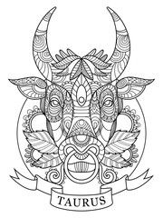 Vector: Taurus zodiac sign coloring book for adults vector