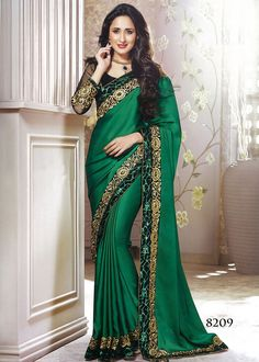 Indian Designer Half and Half Party Wear Saree on dark green and black color invented on satin with zari, stone and patch border will give yourself charming look. Indian Wedding Outfits, Indian Outfits, Indian Beauty Saree, Indian Sarees, African Print Fashion, Indian Fashion, Saris, Indische Sarees, Party Kleidung