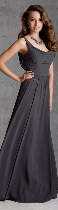 #Elegant A-line #Bateau Straps #Ruching Floor-length Chiffon Bridesmaid Dresses