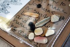 Great way to include shells in a travel journal. Love this.