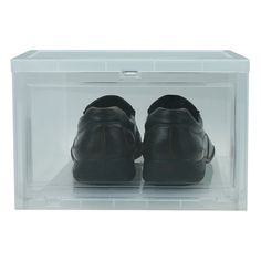 Stackable shoe storage with flip down front.