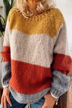 Casual Color Block Ribbed Knitted Sweater – rebecy Fall Sweaters, Casual Sweaters, Cute Sweaters, Sweaters For Women, Knit Sweaters, Womens Knit Sweater, Oversized Sweaters, Vintage Sweaters, Ribbed Sweater