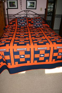 Denver Broncos quilt and pillows that I made