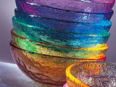 Lovely rainbow glass bowls