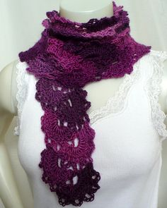 Crochet Lace Scarf: Queen Anne's Lace Scarf by MarieAntoinknit for 9ElizabethStreet