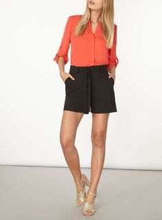 Womens Coral Roll Sleeve Shirt- Coral