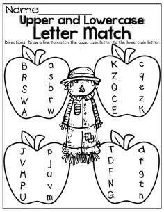 Worksheets Upper And Lowercase Letters Worksheets pumpkins for the and homework on pinterest upper lowercase letter match