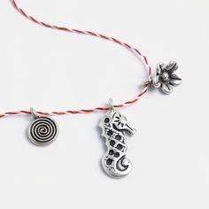 Set mărțișoare din argint: spirală, căluț de mare, floricică