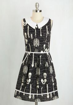 Rad to the Bone Dress. As your guests arrive at your dinner and cocktail party, theyll have to try not to lose their heads over this anatomically chic, fit-and-flare dress!  #modcloth