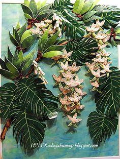 """Представляю Вашему вниманию ещё одну мою работу """"Орхидеи в тропиках""""- участницу выставки """"Путешествие в страну бумаги"""". Эта работа входит в..."""
