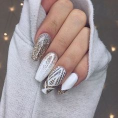 Silver And Gold Nail Designs Ideas silver glitter nails design on we heart it Silver And Gold Nail Designs. Here is Silver And Gold Nail Designs Ideas for you. Silver And Gold Nail Designs intricate silver glitter nail art desig. Gorgeous Nails, Love Nails, How To Do Nails, My Nails, Perfect Nails, Bling Nails, Sparkle Nails, Fancy Nails, Gold Sparkle