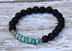 Black Lava Rock Textured Jasper Turquoise Silver by Cheshujewelry, $22.00