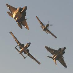 F-22 Raptor, P-51 Mustang, A-10 Thunderbolt, F-4 Phantom