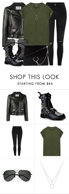 """Toronto"" by monmondefou ❤ liked on Polyvore featuring Acne Studios, Demonia, River Island, Balmain, Yves Saint Laurent, Chloé, black and GREEN"