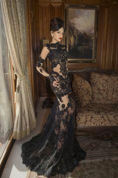 Aliexpress.com : Buy Free Shipping 2014 Women Long Black Lace Evening Dresses See Through Dress vestido de formatura longo com renda from Re...