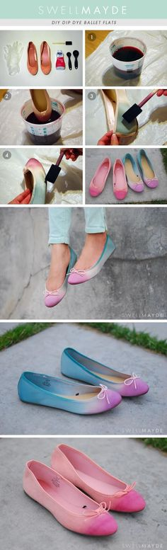 Ombre has definitely become one of a the hot trends of the season. Make your own Ombre Ballet Flats with this DIY tutorial. Shoe Refashion, How To Dye Shoes, Diy Mode, Painted Shoes, Cute Diys, Dip Dye, Diy Accessories, Cool Diy, Diy Fashion