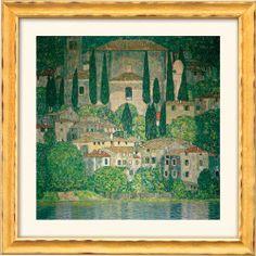 """Gustav Klimt: """"Kirche in Cassone am Gardasee"""" (Reproduktion auf Bütten), http://www.kunstplaza.de/online-galerie/"""