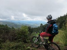 Pausing for breath to admire the view over the Sierra Norte, mountain biking in Mexico.  www.mountainbikeworldwide.com/bike-tours/mexico #adventure #bike