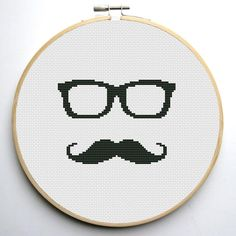0,99 $ Glasses and mustache Funny Cross stitch pattern | Craftsy