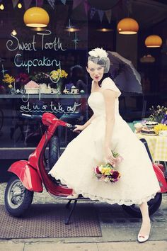 vintage style 3/4 wedding dress, birdcage veil, sweet shop and a Vespa! Dream.