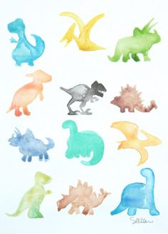 Dinosaur Parade ORIGINAL Watercolor Painting by Waterpaint on Etsy, $30.00