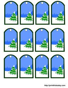Christmas tree and snow gift tags