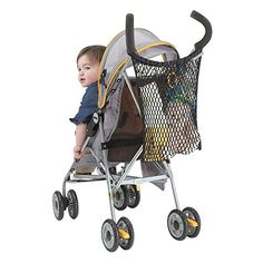 J is for Jeep Stroller Bag, Baby Bag Organizer, Mesh Netting, Unversal Size, Attaches to Most Strollers,  Black - $6.43