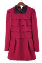 Red Long Sleeve Cascading Ruffle Back Zipper Dress $56.13