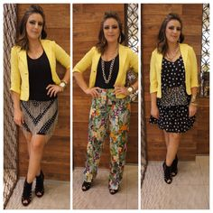 1 Peça 3 Looks: Como um blazer amarelo pode ser utilizado de formas variadas e você pode tentar com outras cores.