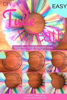 Step-by-step picture guide to show you how easy it is to create a tulle wreath. Step-by-step picture Tulle Projects, Tulle Crafts, Diy Projects To Sell, Wreath Crafts, Diy Wreath, Easter Wreaths Diy, Wreath Ideas, Snowflake Wreath, Wreath Making