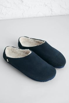 Easy-to-wear, slip-on mules for men, in soft quality suede with cosy fleece linings. The simple shape and sturdy textured soles mean these slippers are perfect for pottering about from morning to evening. Fuzzy Slippers, Mens Slippers, Cabin Socks, Sailor Shirt, Blue Socks, Slip On Mules, Soft Suede, Cosy, Stylish