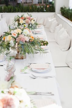 brunch baby shower with gorgeous tablescape and flowers