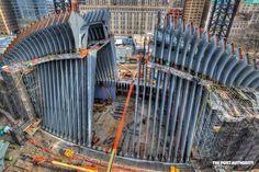 "Santiago Calatrava's winged ""Oculus"" transportation hub design is finally taking shape at its World Trade Center site."