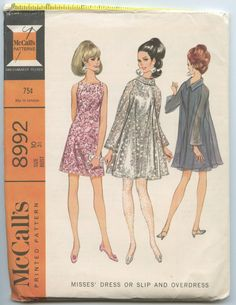 1960s McCall's 8992 Misses' Evening Slip Dress Sheer Overdress Vintage Sewing Pattern Bust 31 UNCUT