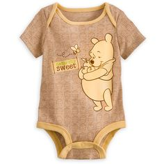 Winnie the Pooh Disney Cuddly Bodysuit for Baby ($15) ❤ liked on Polyvore featuring baby, baby clothes, babies., baby stuff and baby girl