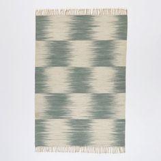 Tapis style kilim tissé à plat motif Ikat en laine AM.PM