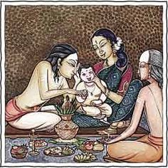 Namakarana – Name Giving Ceremony. This is the Hindu name-giving ceremony, performed in the home or the temple 11 to 41 days after birth. The father whispers the auspicious new name in the infant's right ear.