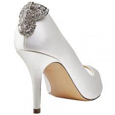 Clarity by Benjamin Adams Ivory Silk Designer Vintage Wedding Party or Occasion Shoes