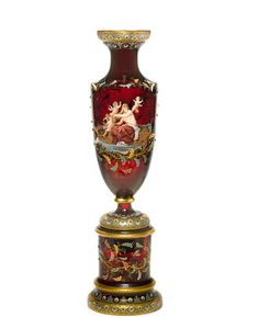 A monumental Moser gilt heightened and enamel decorated ruby glass vase on stand circa 1900